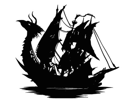 A terrifying silhouette of an old ship with a dragon's head on the front and unusual sails with holes . There are sharp spikes and scales in various places on the ship.