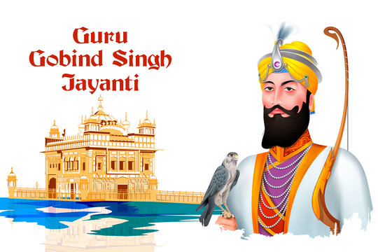 easy to edit vector illustration of Happy Guru Gobind Singh Jayanti religious festival celebration of Sikh in Punjab India