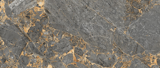 Luxurious Dark Gray Agate Marble Texture With Golden Veins. Polished Marble Quartz Stone Background Striped By Nature With a Unique Patterning, It Can Be Used For Interior-Exterior Tile And Ceramic.