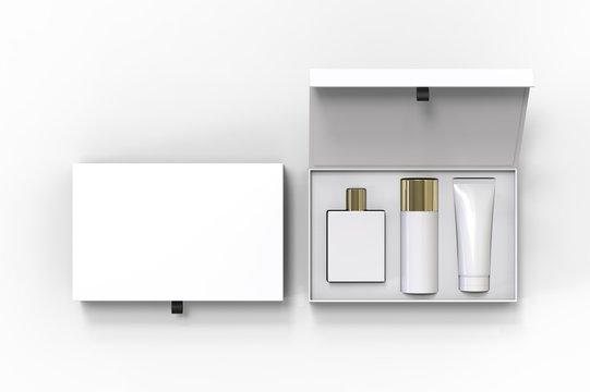 Blank cosmetic gift set box for branding, 3d render illustration.