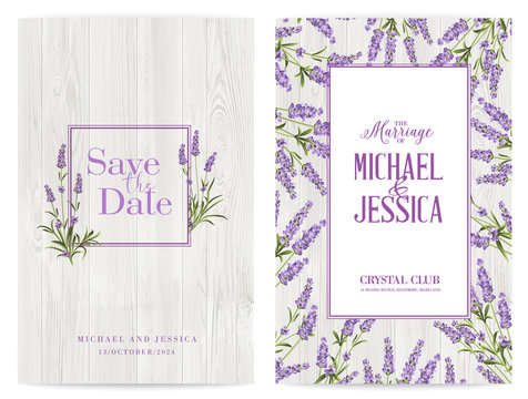 Lavender frame for marriage invitation and other printing or web projects. The provence greeting card with frame of flowers and text place. Marriage label with lavender flowers. Vector illustration.