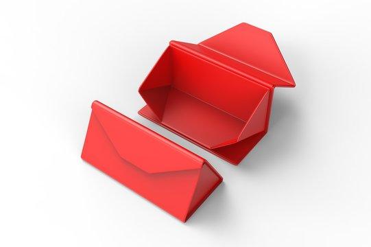 Blank Folding Triangle Magnetic Hard Case Box for Sunglasses for branding design. 3d render illustration.