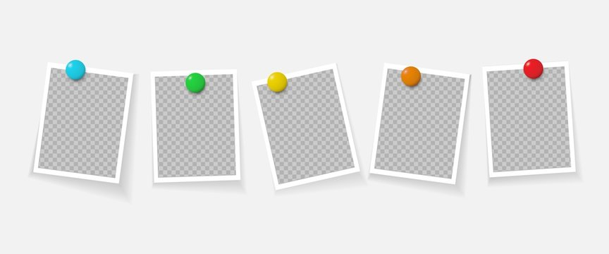 Photo frames pinned with magnet. Realistic vector template