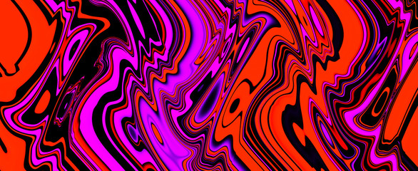Photo on textile frame Pop Art Multicolor glowing twisted lines on black background. Abstract psychedelic 3D illustration