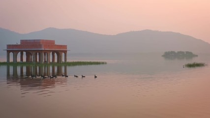 Fotomurales - Blissful morning at romantic Jal Mahal Water Palace in Jaipur. Rajasthan, India