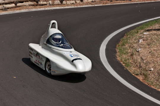 Soap box car race in European championship speed down on July 28, 2012 in Predappio Alta, FC, Italy