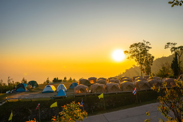 sunrise above camping on the top of mountain of  Khun Sathan Nation Park Nan province Thailand.