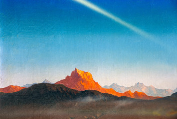 Obraz Fragment of a painting in the style of surrealism oil painted on canvas - mountains - fototapety do salonu