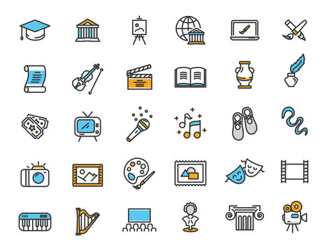 Set of linear culture icons. Art icons in simple design. Vector illustration