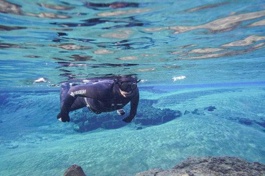 Snorkeling at Silfra, Iceland