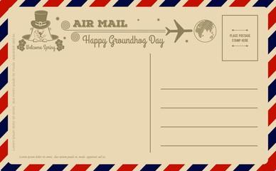 Vintage Groundhog Day Postcard. Welcome spring design template. Vector illustration.