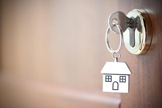 House key in the door.