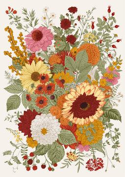Autumn bouquet. Flowers, berry, leaves. Vector vintage illustration.