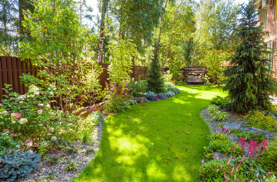 Landscaping in home garden. Landscape design with plants and flowers at residential house. Scenic view of nice landscaped garden in backyard.