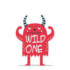 Cool monster cartoon vector with slogan wild one on white background