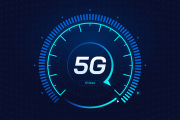 5G network wireless technology. Digital speed meter concept with 5G icon. High speed internet. Neon speedometer in futuristic style isolated on dark background. Car dashboard interface. Vector eps 10. Fotomurales
