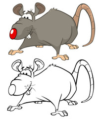 Canvas Prints Baby room Vector Illustration of a Cute Cartoon Character Rat for you Design and Computer Game. Coloring Book Outline Set