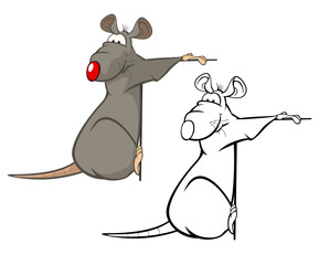 Vector Illustration of a Cute Cartoon Character Rat for you Design and Computer Game. Coloring Book Outline Set