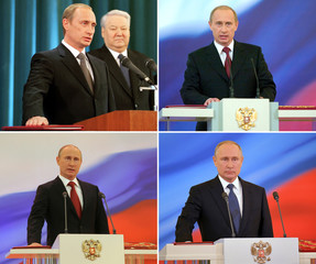 A combination of file photos shows Russian President Vladimir Putin attending his inauguration ceremonies in 2000, 2004, 2012 and 2018