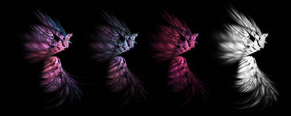 pink abstract smooth feather set with white clipping mask
