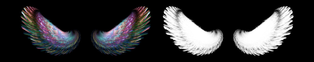 colorful bird wings with white clipping mask Wall mural