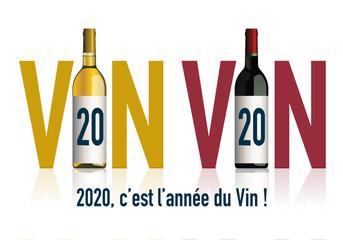 Concept de carte de vœux 2020 originale pour les viticulteurs, avec deux bouteilles, qui en associant le chiffre 20 avec le mot vin, symbolise l'année du vin.