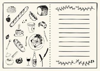 ドリンク、パン、コーヒーなどのカフェメニューをイメージしたイラスト素材