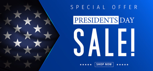 Presidents Day Sale banner - Presidents Day special offer. Banner for presidents day sale design. Special offer for Presidents Day celebration. Fotomurales