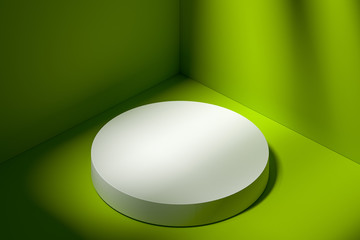 Premiere Concept. White Modern Round Showcase with Copy Space on Pedestal. Light Green Background. 3d rendering.