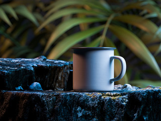 White Blank Enameled Mug With Copy Space On Rock On Exotic Forest Background. 3d rendering.