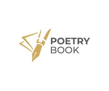 Fountain pen writing logo design. Writer tools vector design. Nib pen and signature logotype
