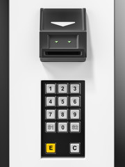 Modern Vending Machine With Contactless Payment Method. Paying Contactless With NFC Technology . 3d rendering