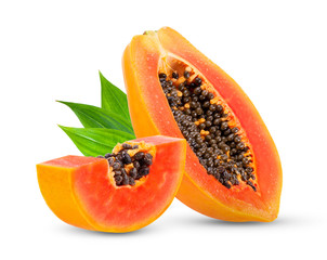 Piece of ripe papaya fruit with seeds isolated on white