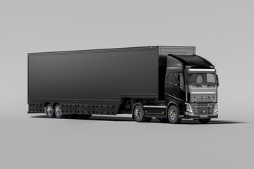 Front View Of Powerful Black Semi Truck With Empty Space On Refrigerator For Long Haul Delivery. 3d rendering