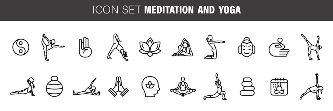 Meditation Practice and Yoga Vector Line Icons Set. Relaxation, Inner Peace, Self-knowledge, Inner Concentration