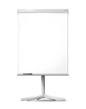 Blank office flipchart on the monopod isolated on white background.