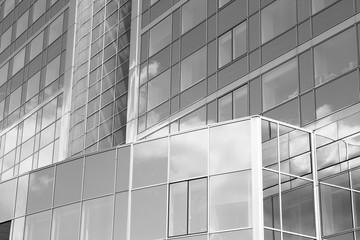 Skyscraper in Paris. Black and white vintage toned image.