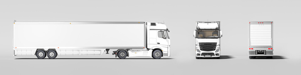 Side View, Front View And Back View Of White Semi Truck With Empty Space On Refrigerator For Haul Delivery. 3d rendering