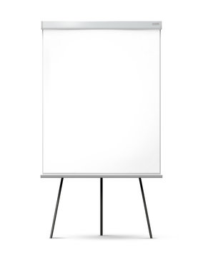 Blank office flipchart on the tripod isolated on white background.