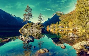 Hintersee lake at sunny day. Wonderful Summer Natural Landscape.