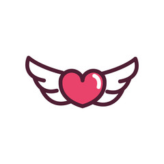 happy valentines day wings hearts love romantic feeling icon