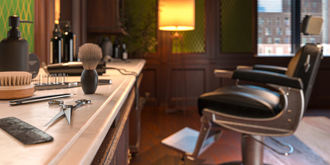 Retro Interior Of Stylish Barber Shop. Scissors, Foam Brush, Hair Brush, Trimmer On Focus. 3d Rendering