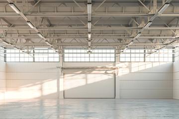 Empty Hangar, Empty Factory Interior or Empty Warehouse With Roller Shutter Door and Concrete Floor. 3d rendering