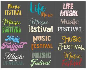Musik Festival Text in retro Stil