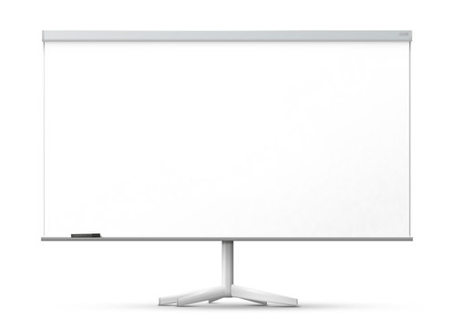 Blank office whiteboard on the monopod, isolated on white background.