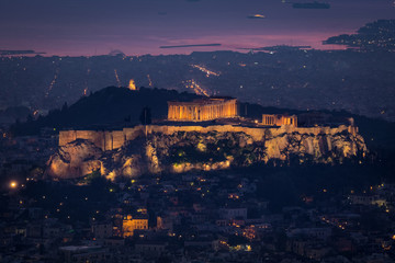Printed roller blinds Athens Aerial view of the Acropolis and city of Athens seen at dawn from Lycabettus hill after the sunset, Greece