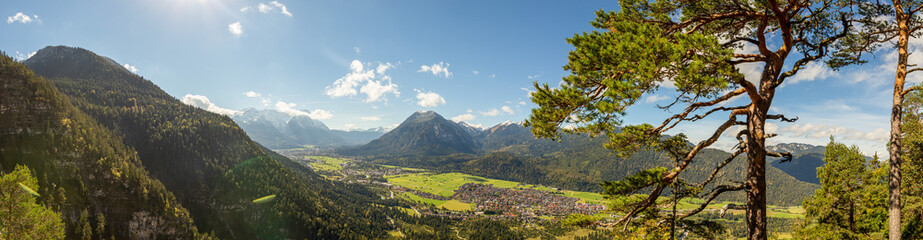 panorama onto Garmisch-Partenkirchen, burgrain and farchant german alps Wall mural