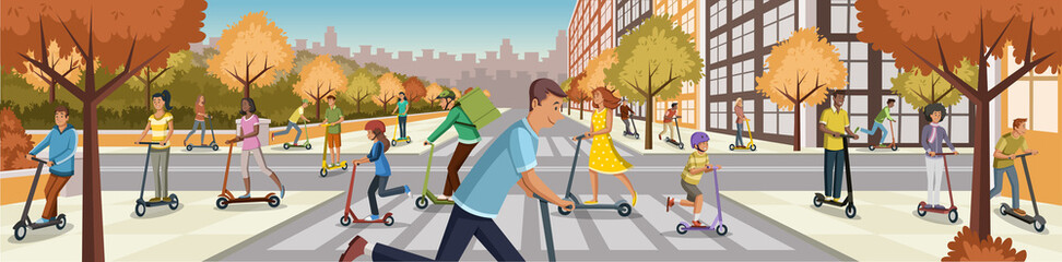 People driving electric scooters through the city. Cartoon people riding modern scooters.