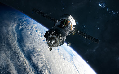 Space station in orbit of the Earth. Solar system. Science fiction. Elements of this image furnished by NASA