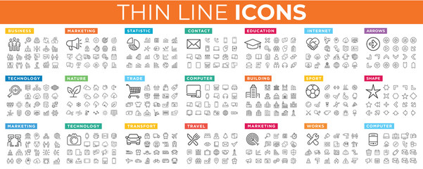 Best vector thin line icons Fototapete